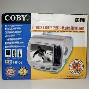 """Coby 5"""" Portable Black & white TV with Radio"""